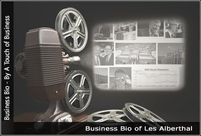Image of a projector displaying images related to Les Alberthal