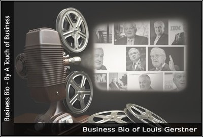 Image of a projector displaying images related to Louis Gerstner