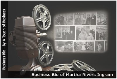 Image of a projector displaying images related to Martha Rivers Ingram
