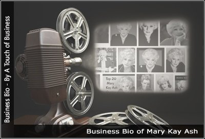 Image of a projector displaying images related to Mary Kay Ash