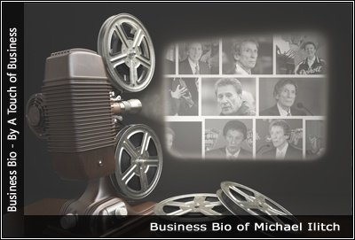 Image of a projector displaying images related to Michael Ilitch