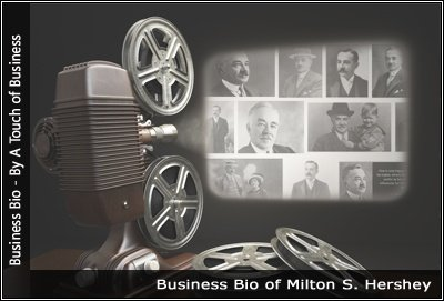 Image of a projector displaying images related to Milton S. Hershey