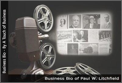 Image of a projector displaying images related to Paul W. Litchfield