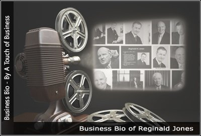 Image of a projector displaying images related to Reginald H. Jones