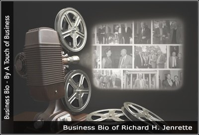 Image of a projector displaying images related to Richard H. Jenrette