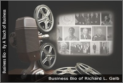Image of a projector displaying images related to Richard L Gelb