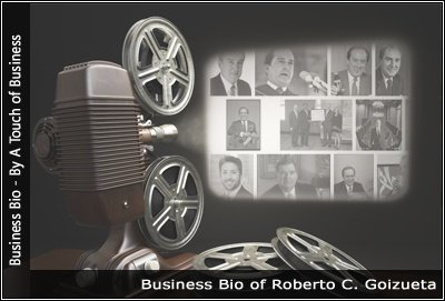 Image of a projector displaying images related to Roberto Goizueta