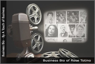 Image of a projector displaying images related to Rose Totino
