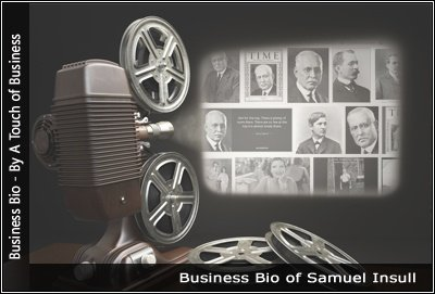 Image of a projector displaying images related to Samuel Insull