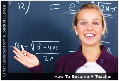 Image of a teacher in front of a blackboard