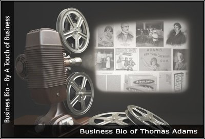 Image of a projector displaying images related to Thomas Adams