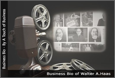 Image of a projector displaying images related to Walter A. Haas