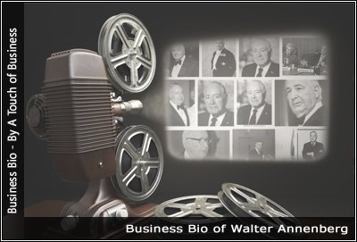 Image of a projector displaying images related to Walter Annenberg