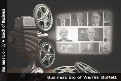 Image of a projector displaying images related to Warren Buffett