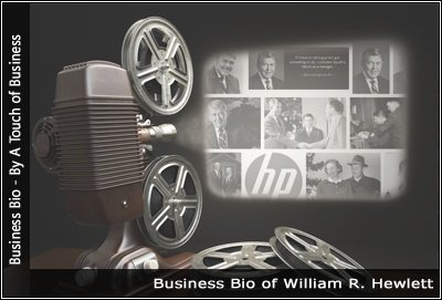 Image of a projector displaying images related to William R. Hewlett