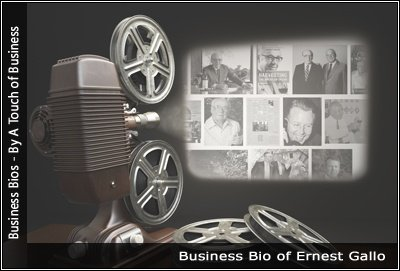 Image of a projector displaying images related toErnest Gallo