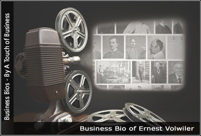 Image of a projector displaying images related toErnest- Volwiler