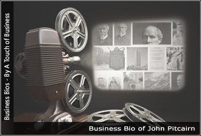 Image of a projector displaying images related to John Pitcairn