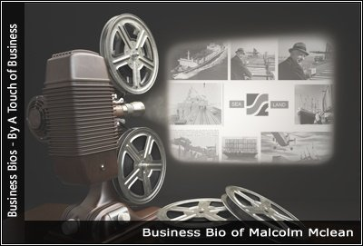 Image of a projector displaying images related to Malcolm Mclean