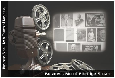 Image of a projector displaying images related to Elbridge Stuart