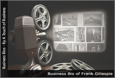Image of a projector displaying images related to Frank Gillespie
