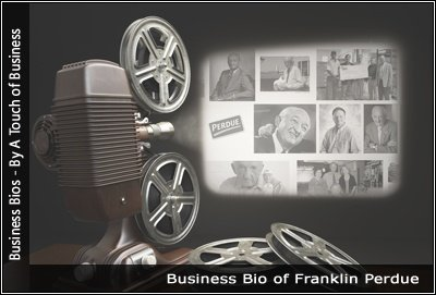 Image of a projector displaying images related to Franklin Perdue