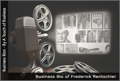 Image of a projector displaying images related to Frederick Rentschler