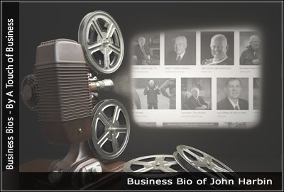 Image of a projector displaying images related to John Harbin