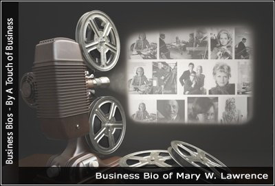 Image of a projector displaying images related to Mary W. Lawrence