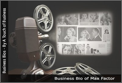 Image of a projector displaying images related to Max Factor