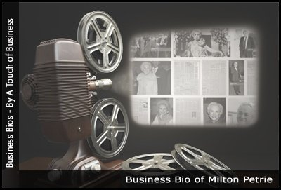 Image of a projector displaying images related to Milton Petrie