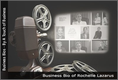 Image of a projector displaying images related toRochelle Lazarus