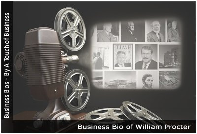 Image of a projector displaying images related to William Procter
