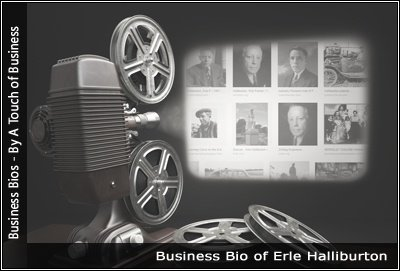 Image of a projector displaying images related to Erle Halliburton