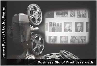 Image of a projector displaying images related to Fred Lazarus Jr
