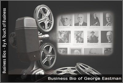 Image of a projector displaying images related to George Eastman