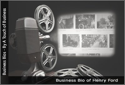 Image of a projector displaying images related to Henry Ford