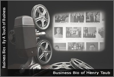 Image of a projector displaying images related to Henry Taub