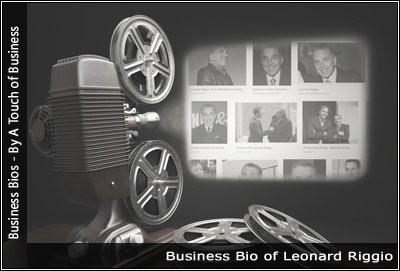 Image of a projector displaying images related to Leonard Riggio