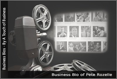 Image of a projector displaying images related to Pete Rozelle