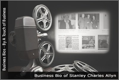 Image of a projector displaying images related to Stanley Charles Allyn