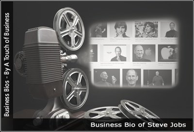 Image of a projector displaying images related to Steve Jobs