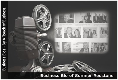Image of a projector displaying images related to Sumner Redstone