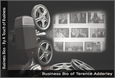 Image of a projector displaying images related to Terence Adderley