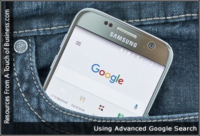 Image of an phone in a jean pocket, displaying google search page