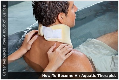Image of a man in a pool wearing a neck brace