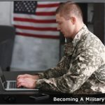 Image of a military officer working at desk