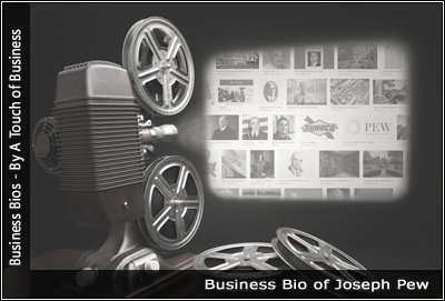 Image of a projector displaying images related to Joseph Pew