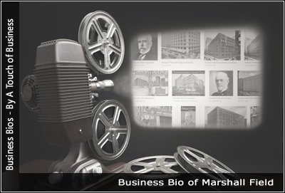 Image of a projector displaying images related to Marshall Field