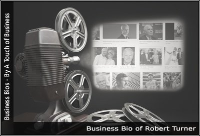 Image of a projector displaying images related to Robert Turner